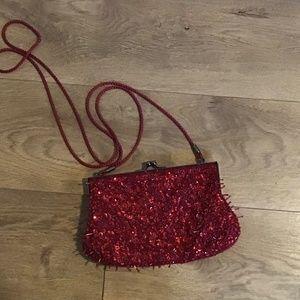 Bag, purse, Lancôme, Lancôme red beaded bag
